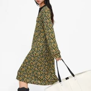 Zara Floral Midi with Knitted Sweater Neckline